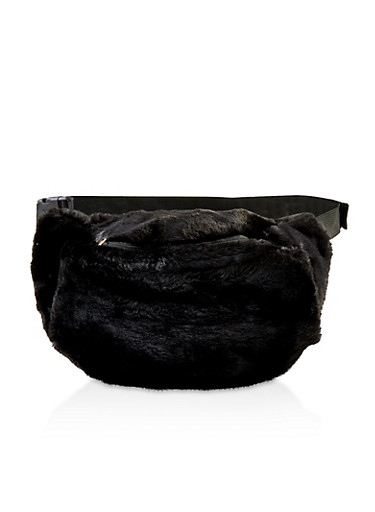 Faux Fur Fanny Pack,BLACK,large