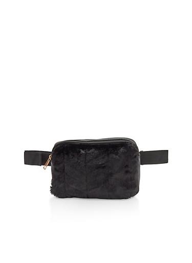 Faux Fur Chevron Detail Fanny Pack,BLACK,large