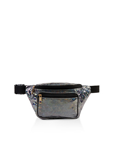 Double Zip Holographic Fanny Pack,BLACK,large