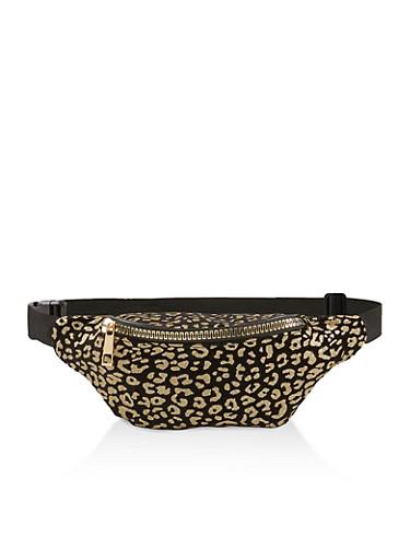 Glitter Leopard Fanny Pack,BLACK,large