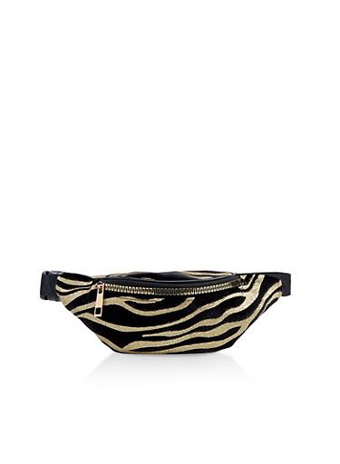 Glitter Zebra Stripe Fanny Pack,BLACK,large