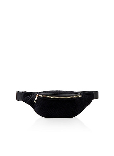 Velvet Embossed Zip Fanny Pack,BLACK,large