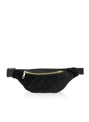 Diamond Quilted Velvet Fanny Pack,BLACK,large