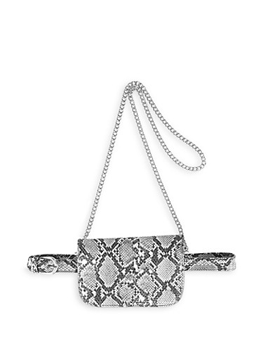 Convertible Snake Print Crossbody Bag,BLACK/WHITE,large