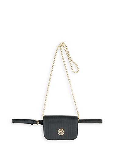 Decorative Stitch Metallic Logo Belt Bag,BLACK,large