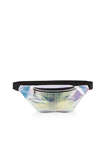 Holographic Prism Embossed Fanny Pack,SILVER,large
