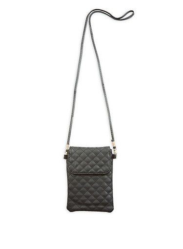 Quilted Crossbody Bag,BLACK,large