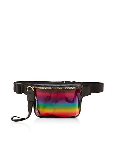 Rainbow Plastic Fanny Pack,MULTI COLOR,large