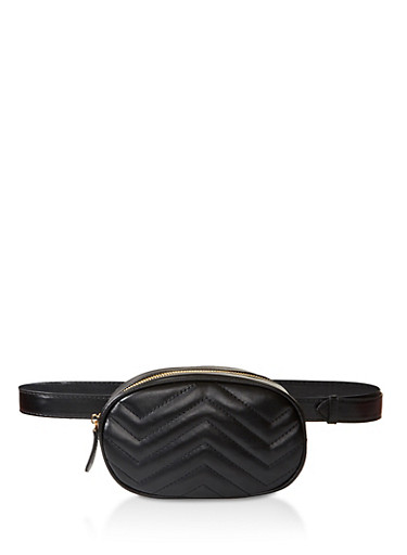 Chevron Quilted Oval Belt Bag,BLACK,large