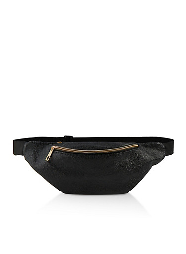 Crinkled Faux Leather Fanny Pack,BLACK,large