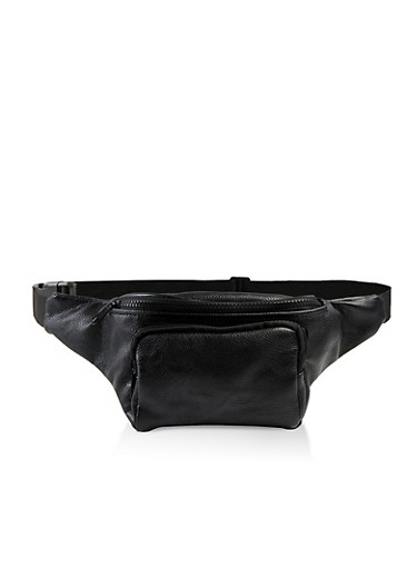 Faux Leather Double Zip Fanny Pack,BLACK,large