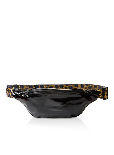 Lurex Elastic Strap Fanny Pack,BLACK,large