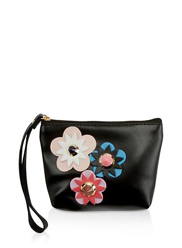 Studded Flower Faux Leather Wristlet,BLACK,large