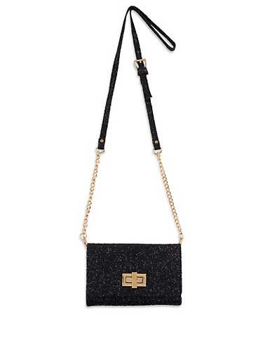 Glitter Crossbody Bag | 1126067449554,BLACK,large