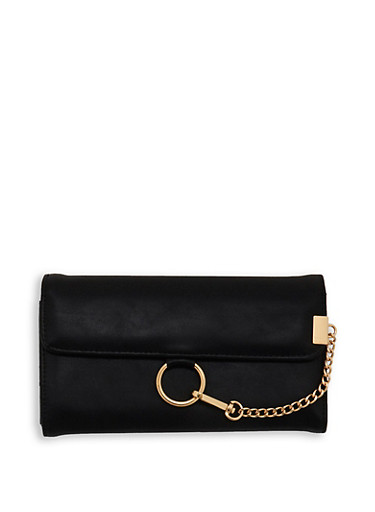 Faux Leather Chain Detail Wallet,BLACK,large
