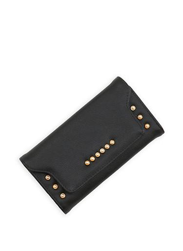 Faux Pearl Flap Wallet,BLACK,large