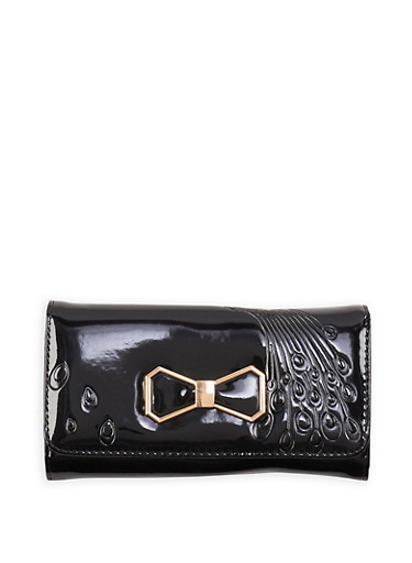 Metallic Bow Patent Faux Leather Wallet,BLACK,large