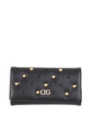 Faux Pearl Studded Wallet,BLACK,large