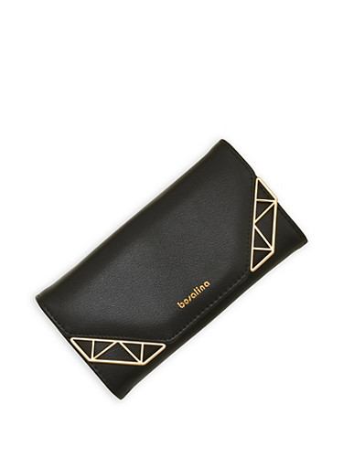 Metallic Accented Tri Fold Wallet,BLACK,large
