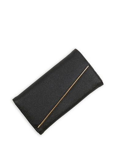 Slanted Metallic Bar Faux Leather Wallet,BLACK,large