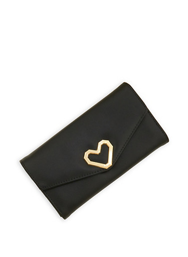 Faux Leather Metallic Heart Wallet,BLACK,large