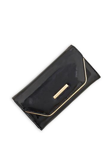 Faux Patent Leather Flap Wallet,BLACK,large