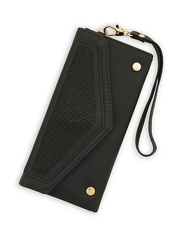 Faux Leather Laser Cut Envelope Wallet,BLACK,large