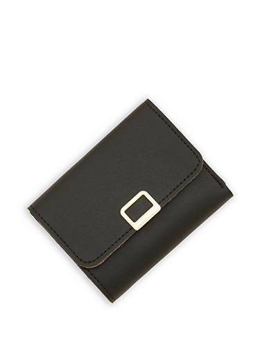 Mini Trifold Faux Leather Wallet,BLACK,large