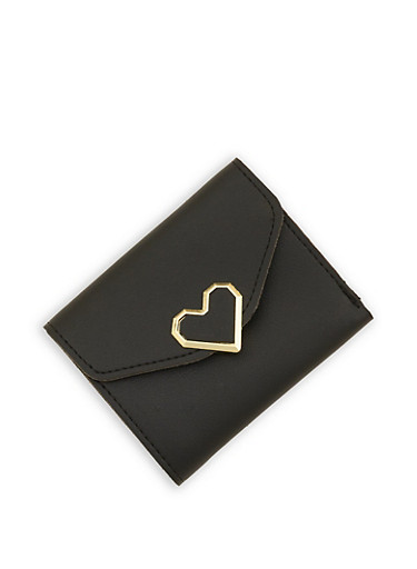 Heart Detail Mini Trifold Faux Leather Wallet,BLACK,large