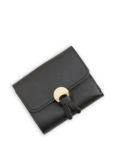 Tassel Detail Mini Trifold Faux Leather Wallet,BLACK,large