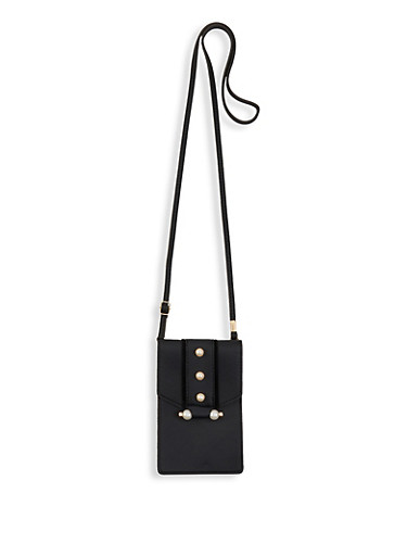 Faux Pearl Accent Crossbody Bag,BLACK,large