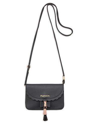 Mini Scalloped Edge Crossbody Bag,BLACK,large