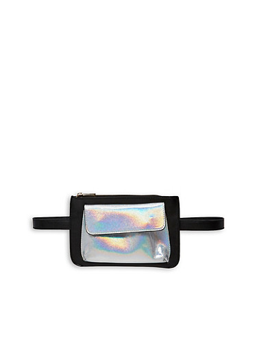 Holographic Pocket Belt Bag,BLACK,large