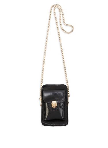 Mini Faux Leather Chain Crossbody Bag,BLACK,large