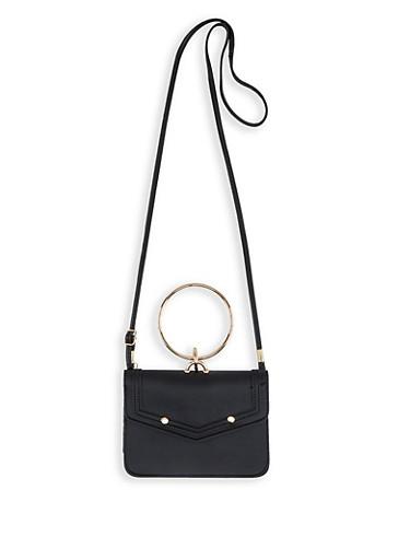 O Ring Handle Faux Leather Crossbody Bag,BLACK,large