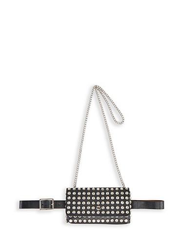 Studded Convertible Belt Bag,BLACK,large
