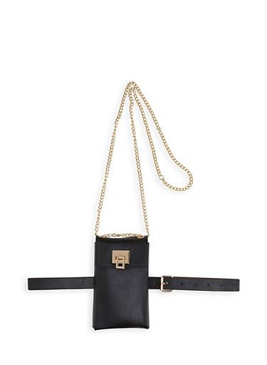 Rectangular Convertible Belt Bag,BLACK,large