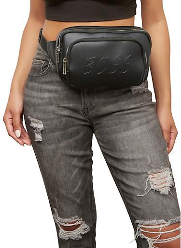 Boss Double Zipper Fanny Pack,BLACK,large