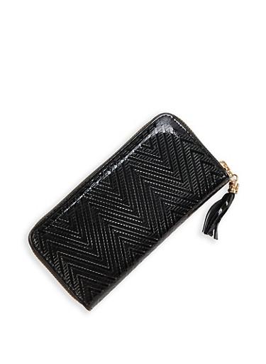 Faux Patent Leather Chevron Wallet,BLACK,large