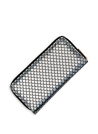 Shimmer Mermaid Scale Wallet,SILVER,large