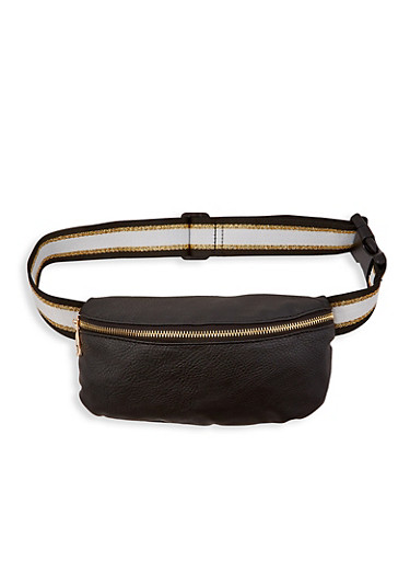 Striped Waistband Fanny Pack,BLACK,large