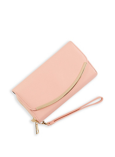 Double Zip Flap Wallet,ROSE,large