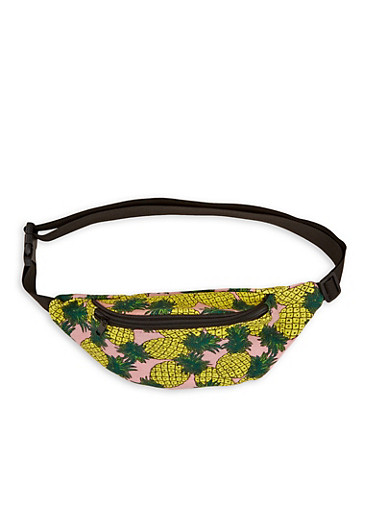 Pineapple Print Canvas Fanny Pack,YELLOW,large