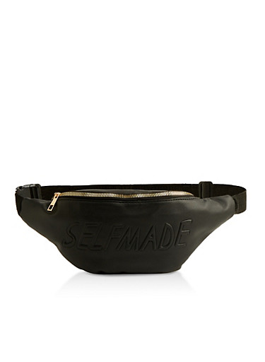 Embossed Self Made Fanny Pack,BLACK,large