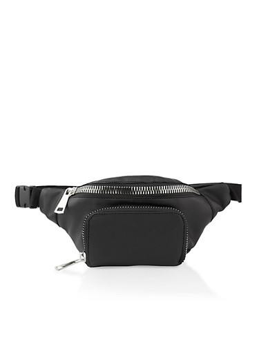 Chunky Double Zip Fanny Pack,BLACK,large