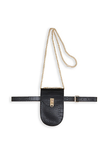 Croc Embossed Faux Leather Crossbody Bag,BLACK,large