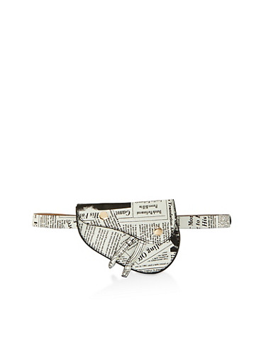 Newspaper Print Asymmetrical Belt Bag,BLACK/WHITE,large