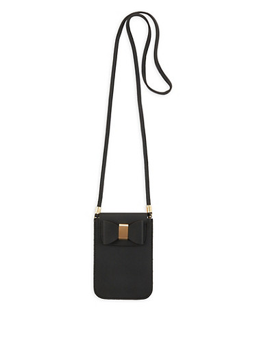 Textured Faux Leather Crossbody Bag with Bow,BLACK,large