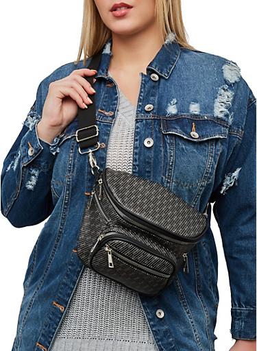 Zip Faux Leather Fanny Pack,BLACK,large