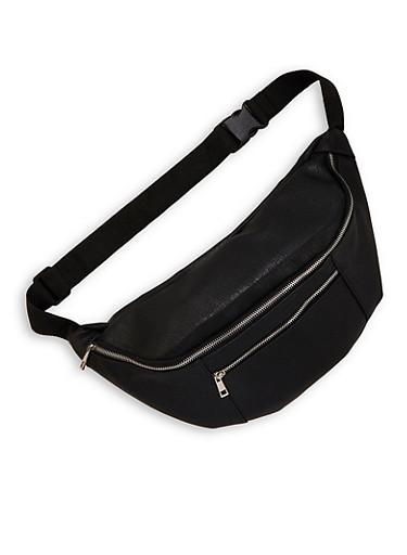 Oversized Double Zipper Fanny Pack,BLACK,large
